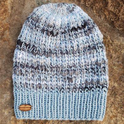 Madebymom kootud müts sinise ja hallikirju fresh.ee