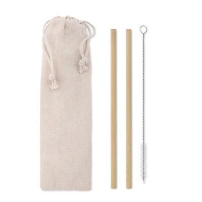 Bambusest joogikõrred ja puhastushari kotikeses
