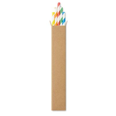 Kartongist kahevärviline joogikõrre komplekt. Üks toon valge, teine kollane, oranž, punane, roheline, sinine.